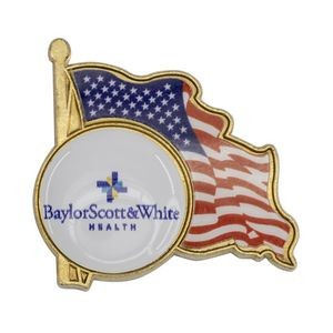 American Flag Enamel Lapel Pin w/ Custom Logo - Made in USA
